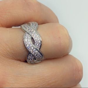 Jewelry - Sterling Silver Infinity Diamond Wide Band Ring
